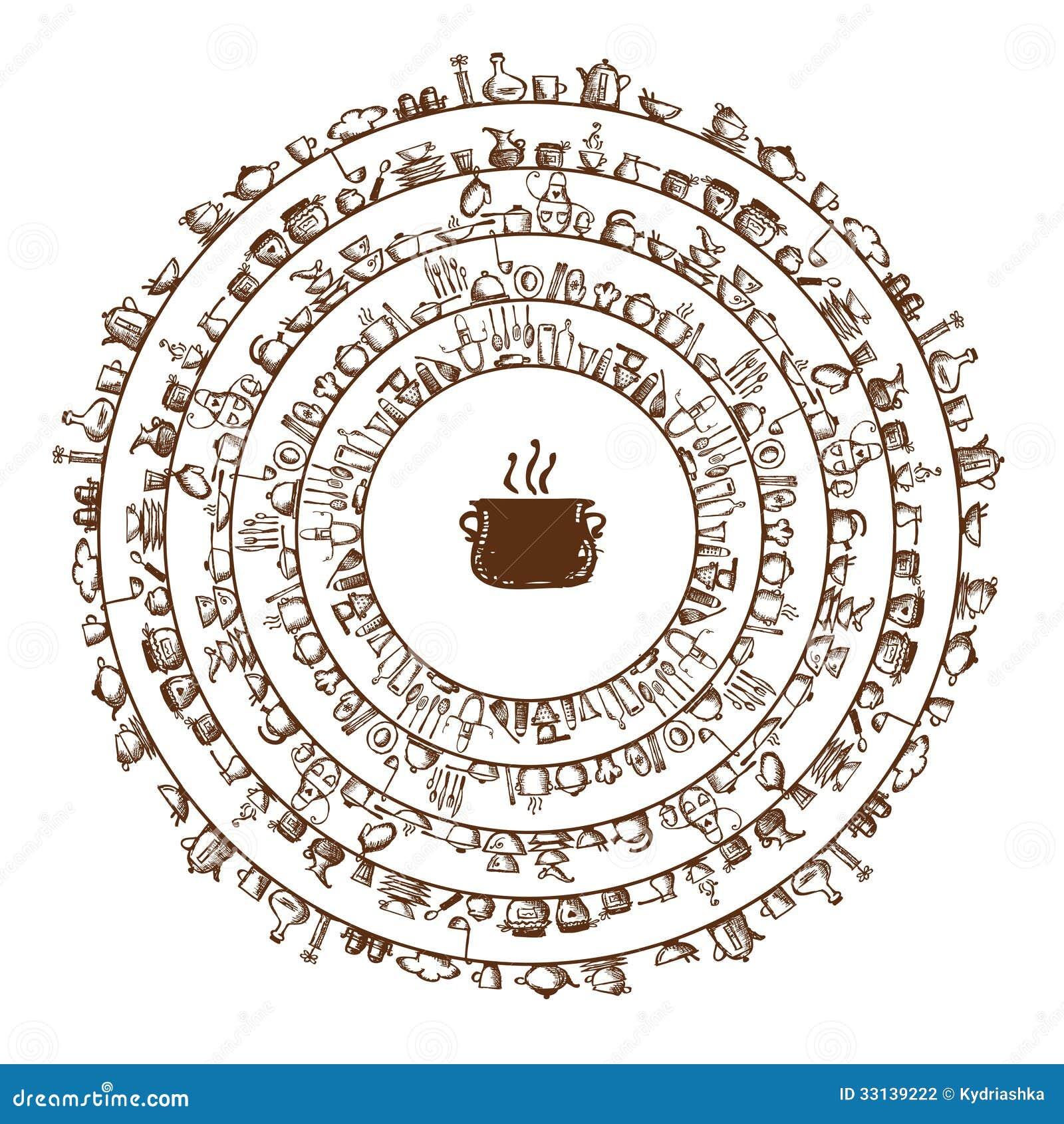 Keukengerei het kader van de schetstekening voor uw vector illustratie afbeelding 33139222 - Decoratief kader voor het leven ...