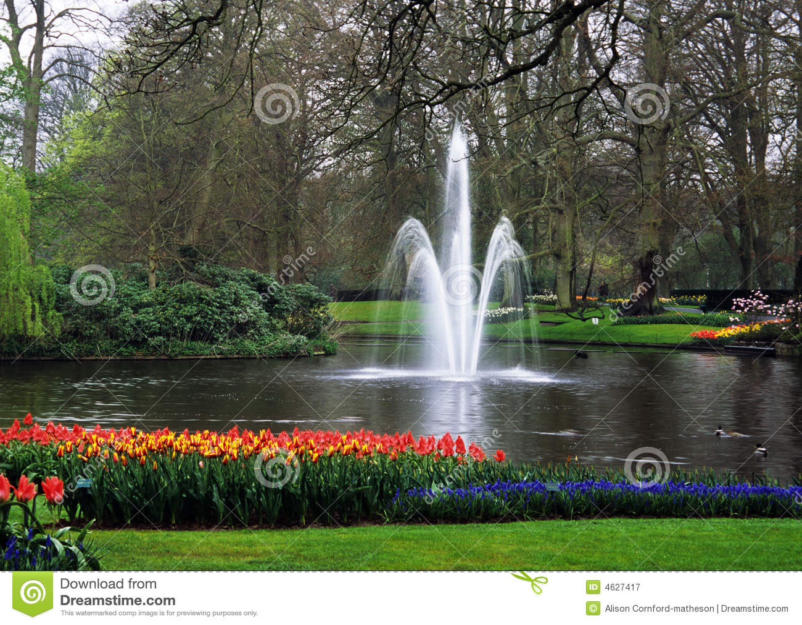 Keukenhof Gardens Fountain