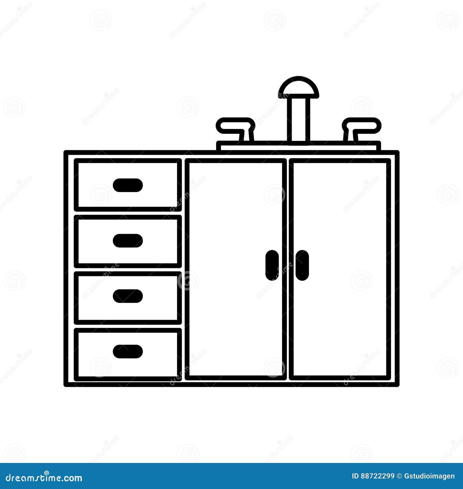 Keukenkast geïsoleerd pictogram