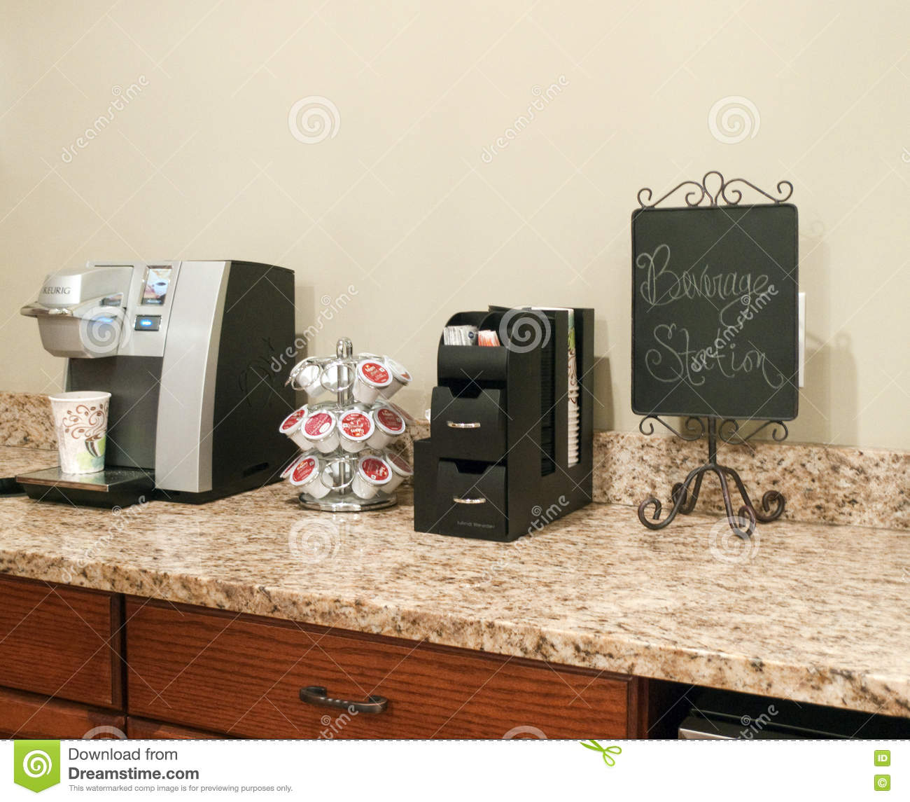Keurig Coffee Maker With Single Serve Packets Editorial Photo