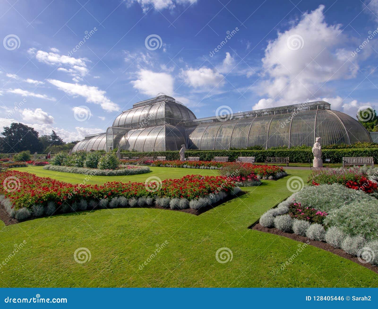 KEW-TRÄDGÅRDAR, LONDON, UK SEPTEMBER 15, 2018: Gömma i handflatanhuset på Kew trädgårdar, London, värma sig i sol för sen sommar