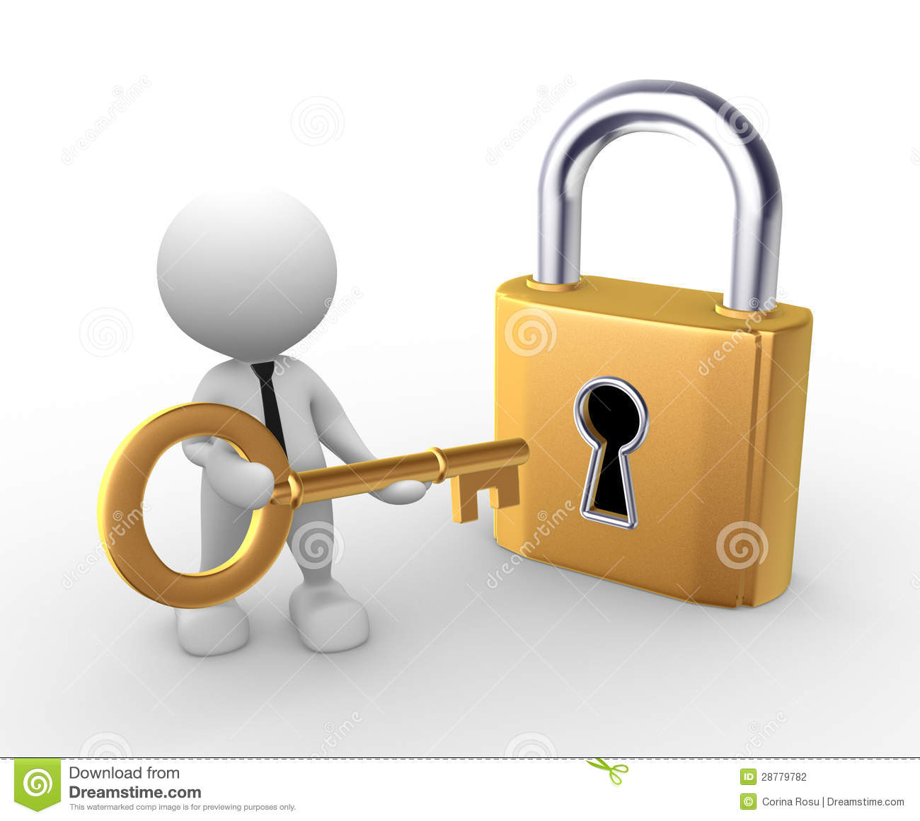 3d people - man, person open a lock with a key.