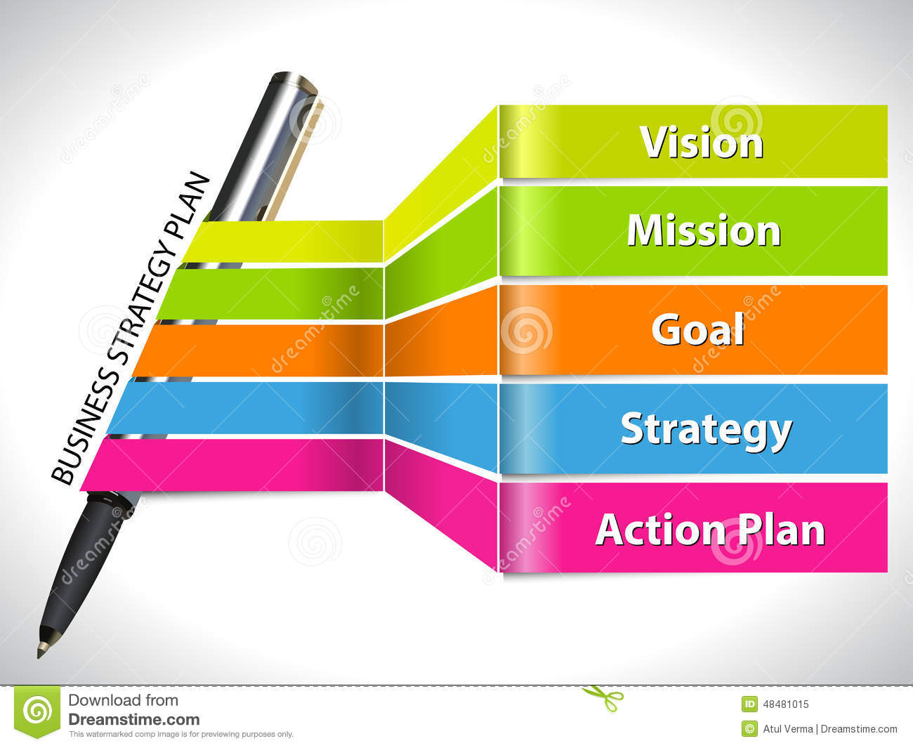 Key of business strategy plan colorful info graphic with - Business plan for web design company ...