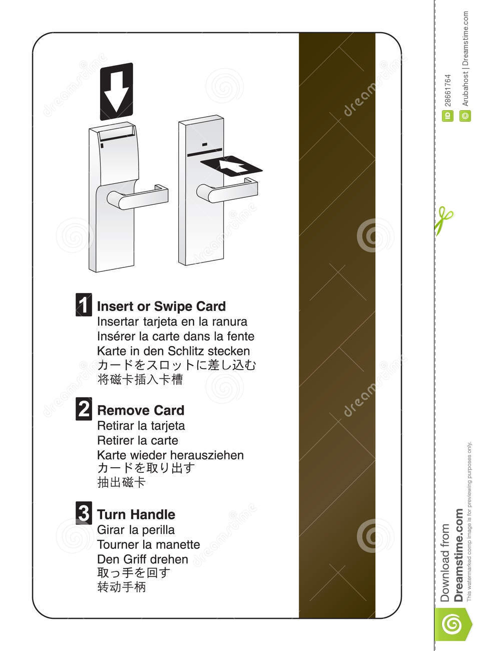 Key card door lock instructions stock vector illustration of key card door lock instructions ccuart Gallery