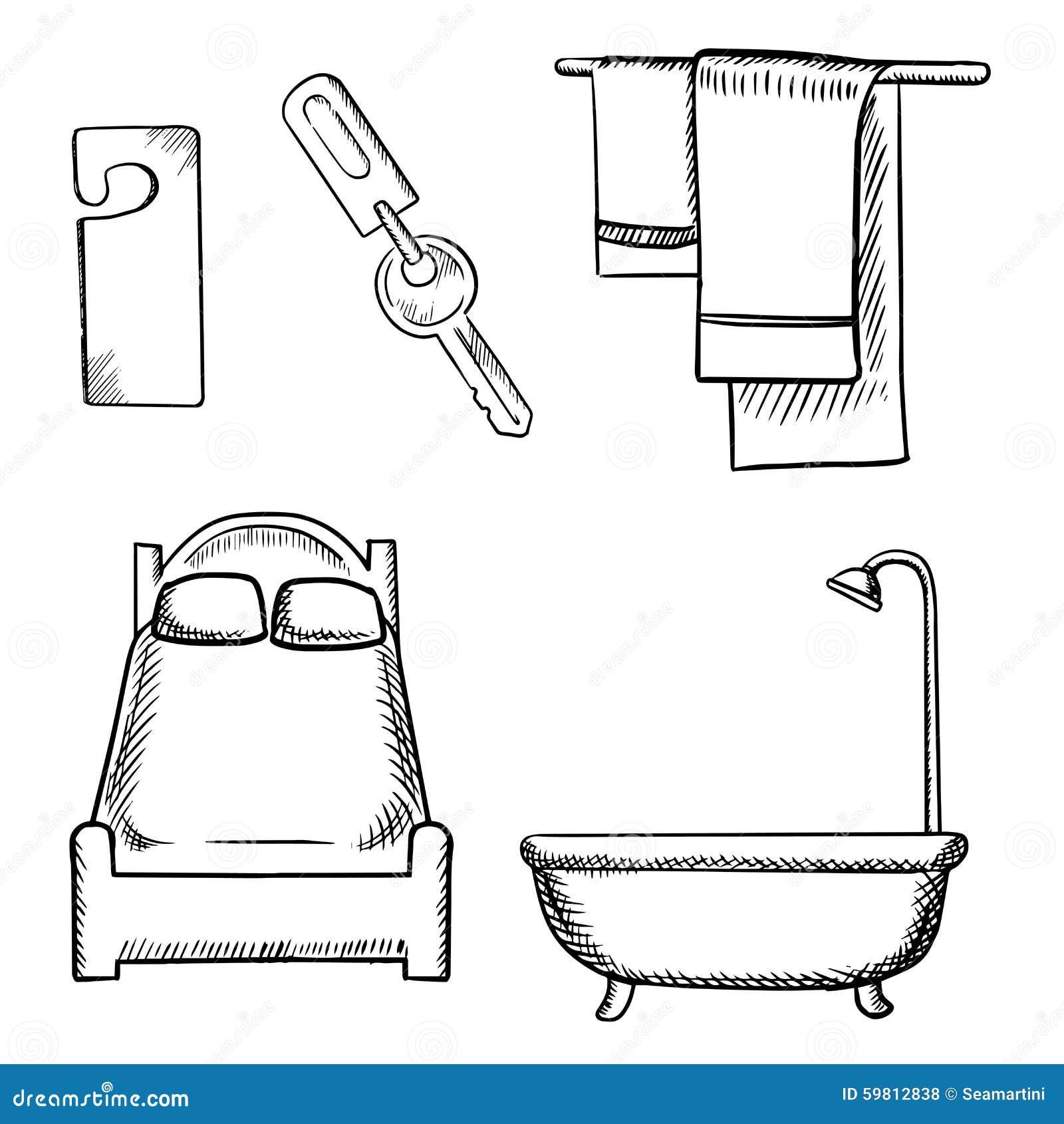 Key Door Tag Bed Bathroom And Towels Sketch Stock