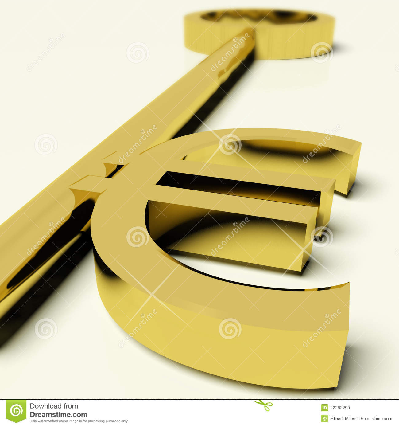 Key With Euro Sign As Symbol For Money Or Wealth Stock Illustration