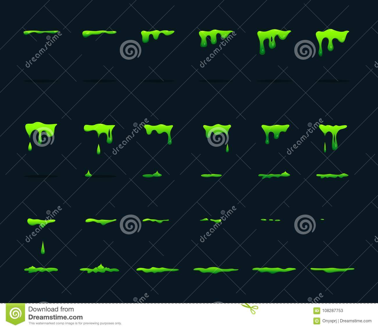 Key Frame Animation Of Dripping Acid. Vector Picture Set Stock ...