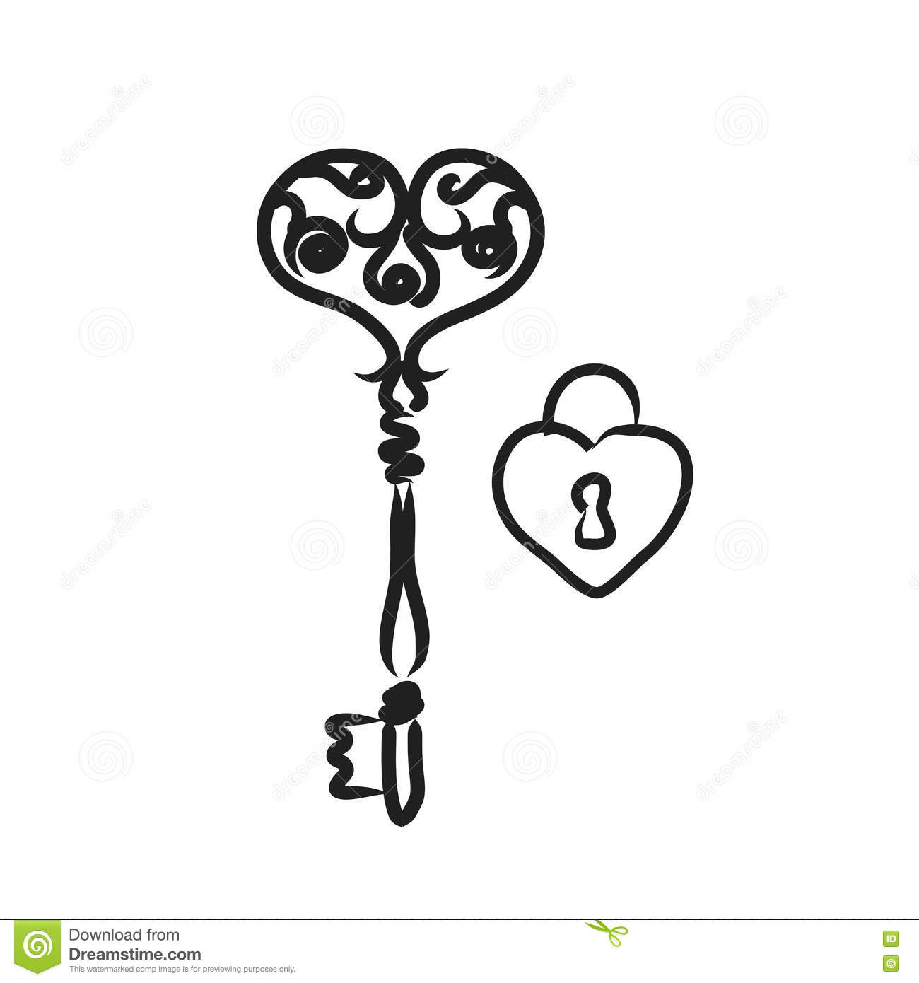 Line Art Key : Key with heart shape lock line art illustration black and