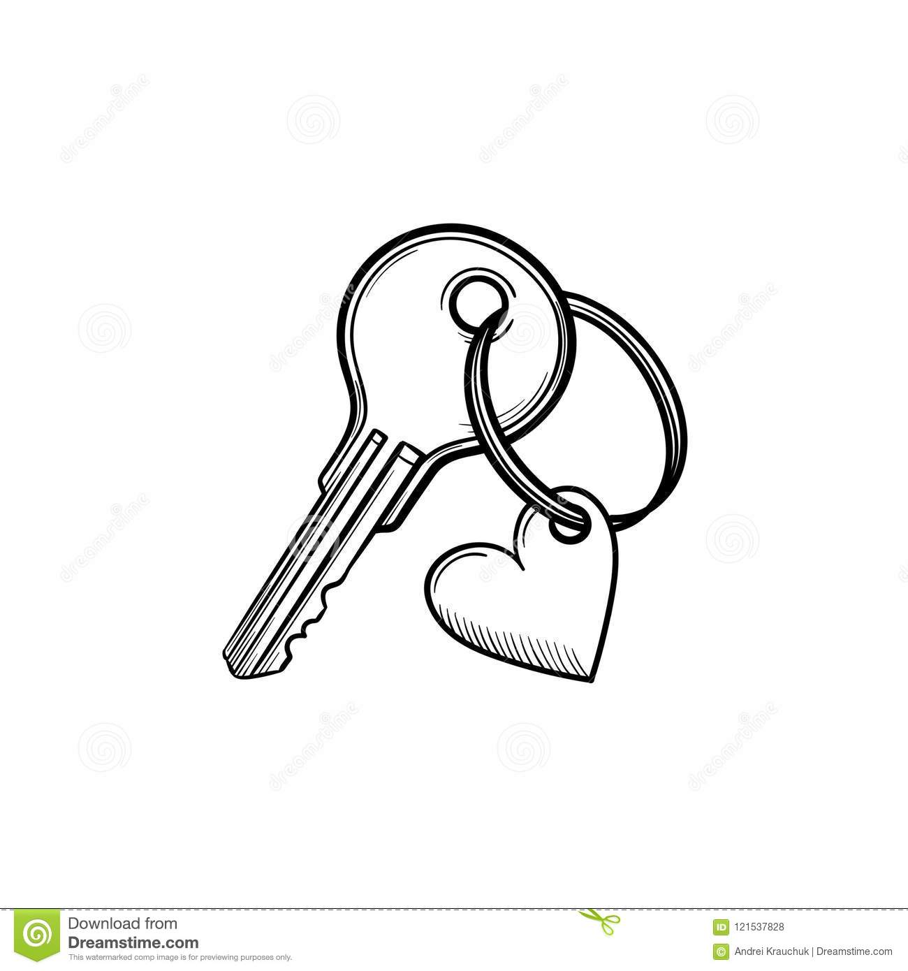 Key with heart shaped keyholder hand drawn outline doodle icon.