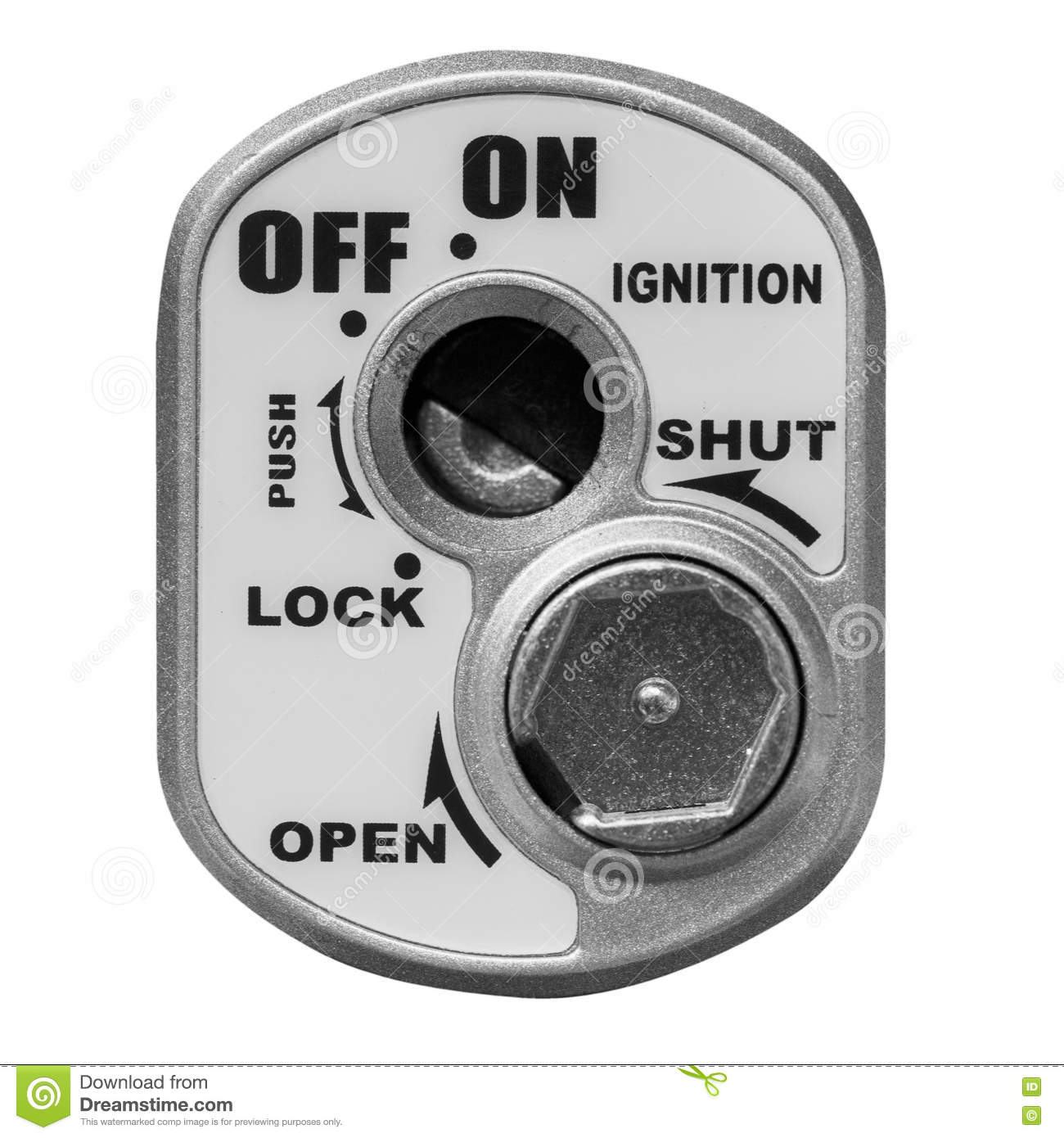 key hole on a motorcycle ignition switch on white background stock photo image 73452705. Black Bedroom Furniture Sets. Home Design Ideas