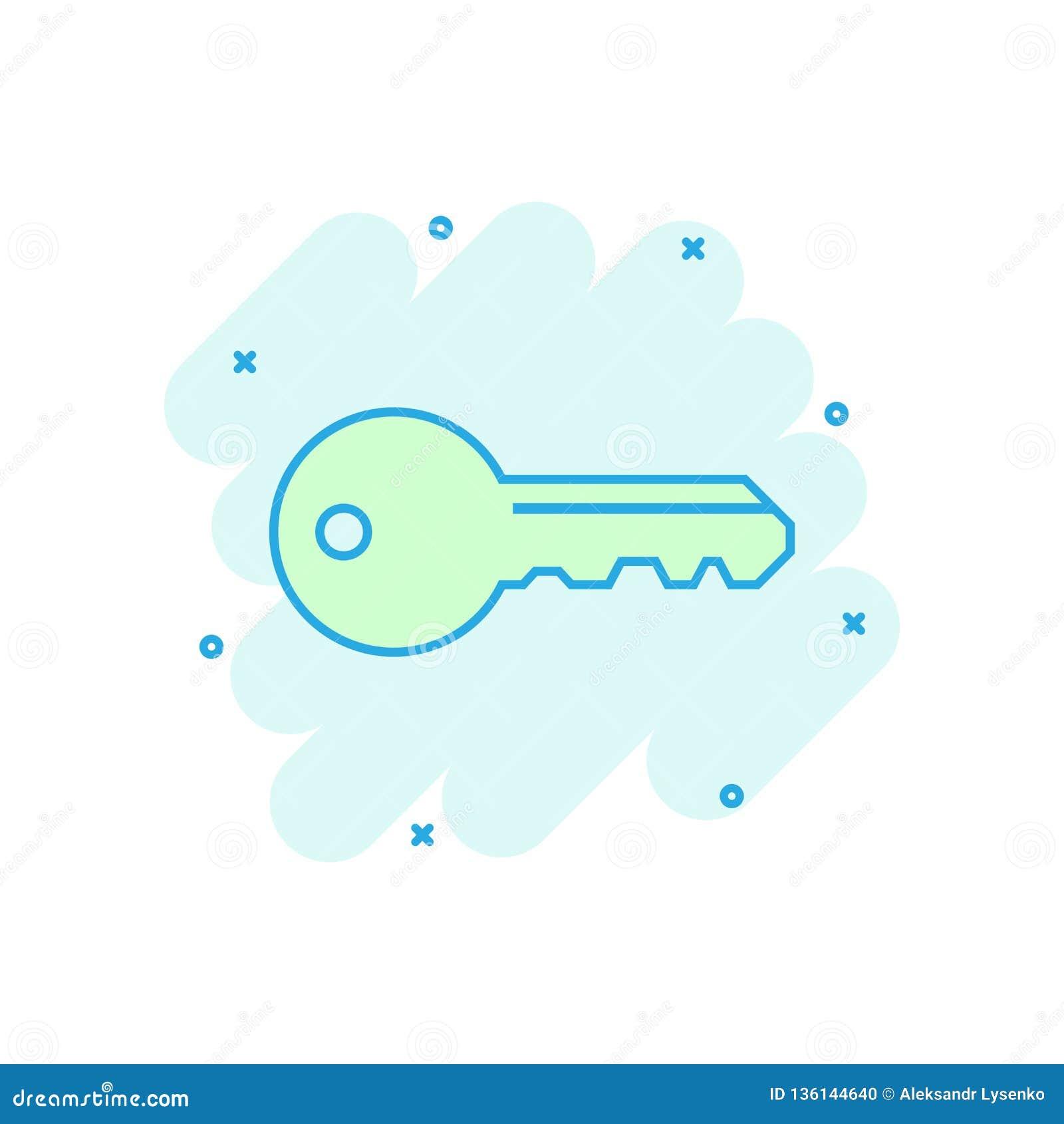 Key icon in comic style. Access login vector cartoon illustration pictogram. Password key business concept splash effect