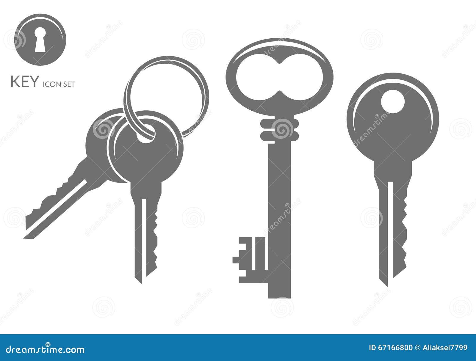 Vector Key Illustration: Key Icon Set Vector Illustration