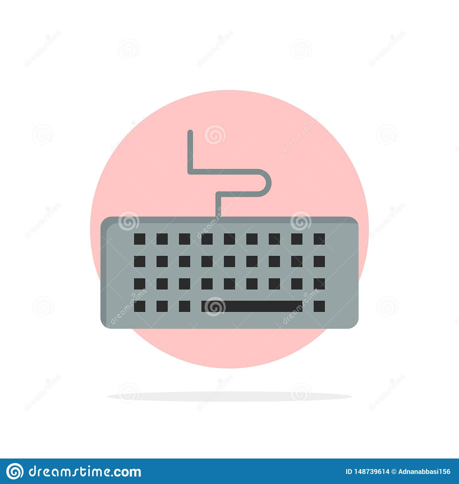 Key, Keyboard, Hardware, Education Abstract Circle Background Flat color Icon