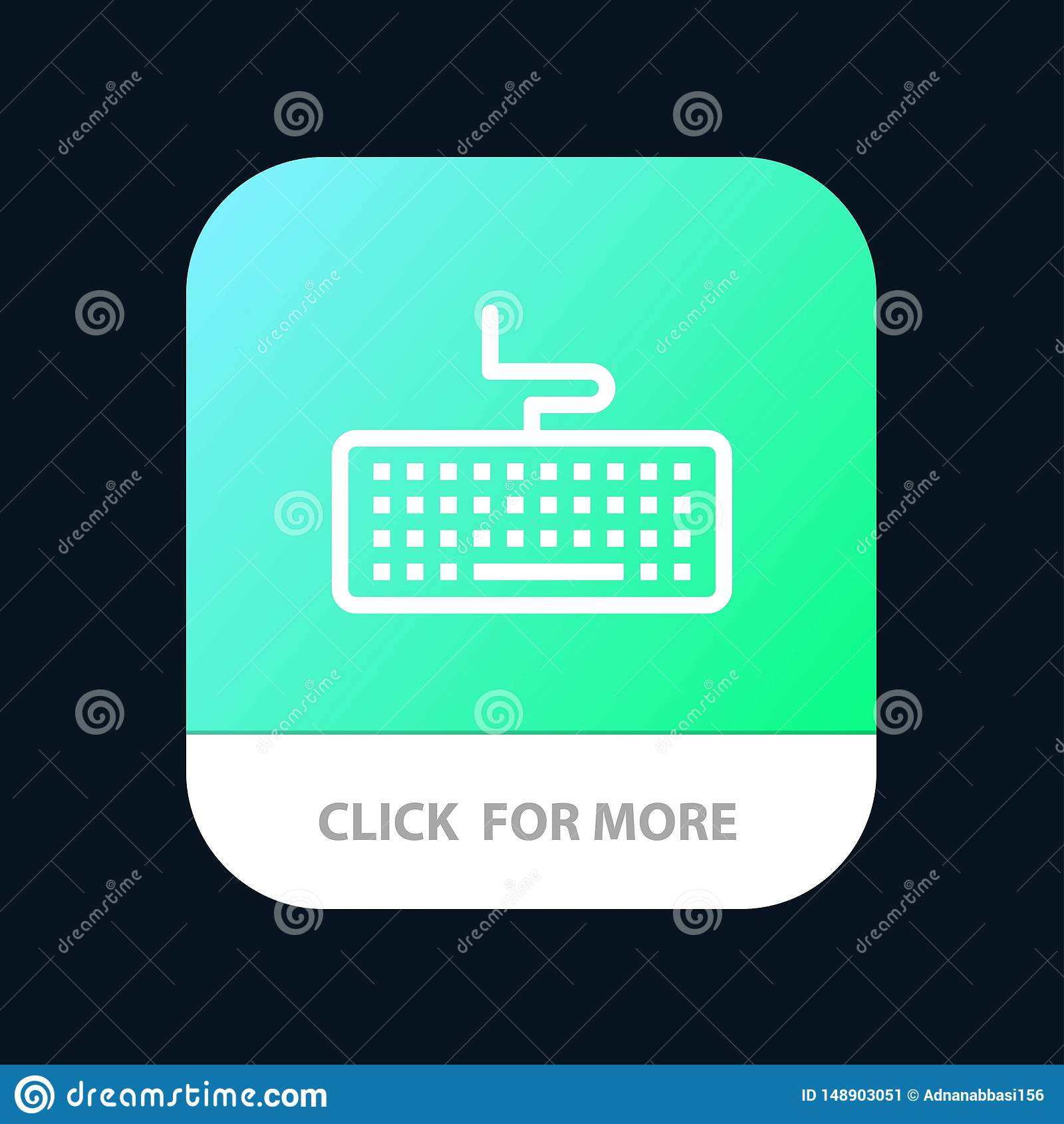 Key, Keyboard, Hardware, Education Mobile App Button. Android and IOS Line Version
