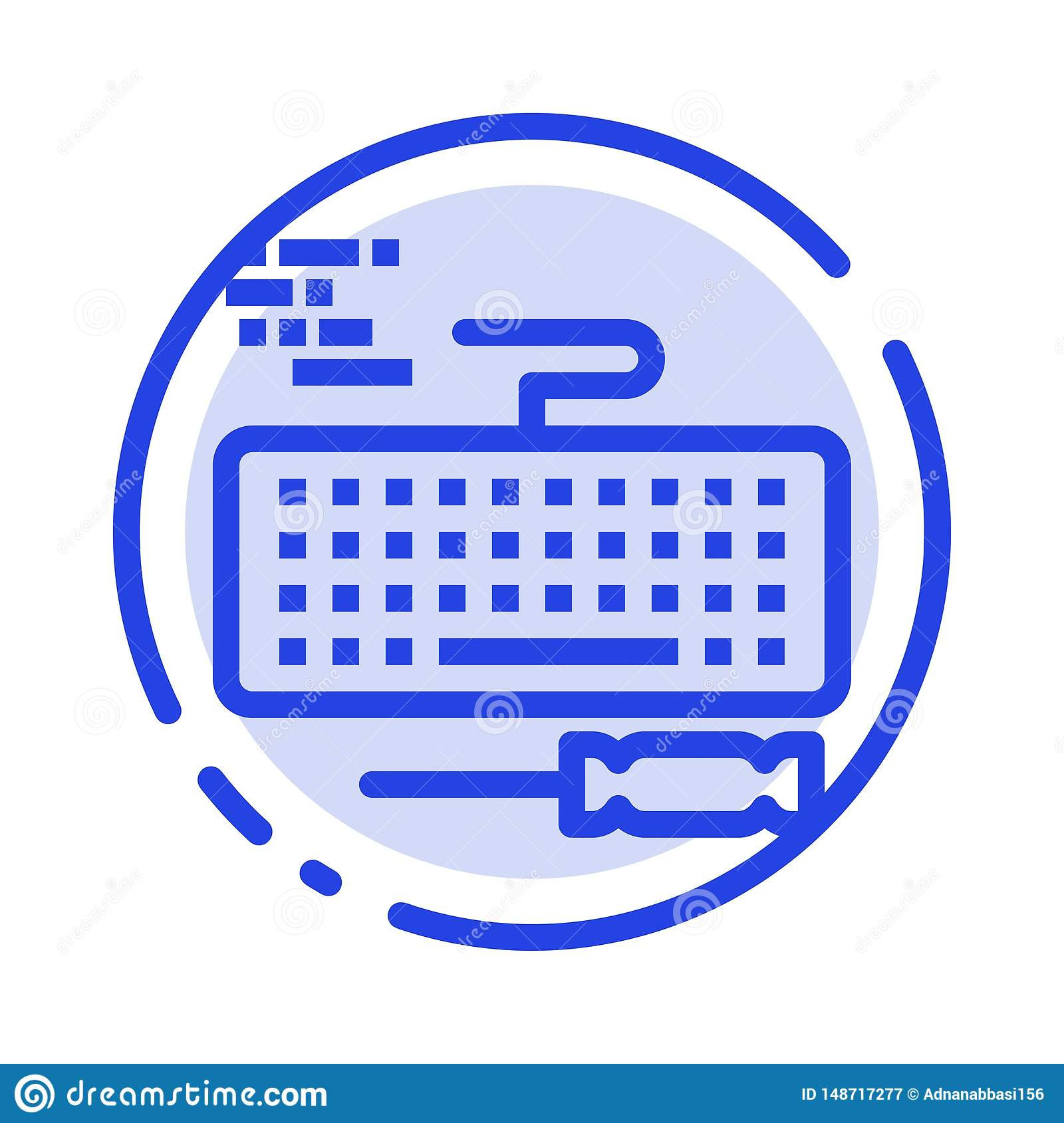 Key, Keyboard, Hardware, Repair Blue Dotted Line Line Icon