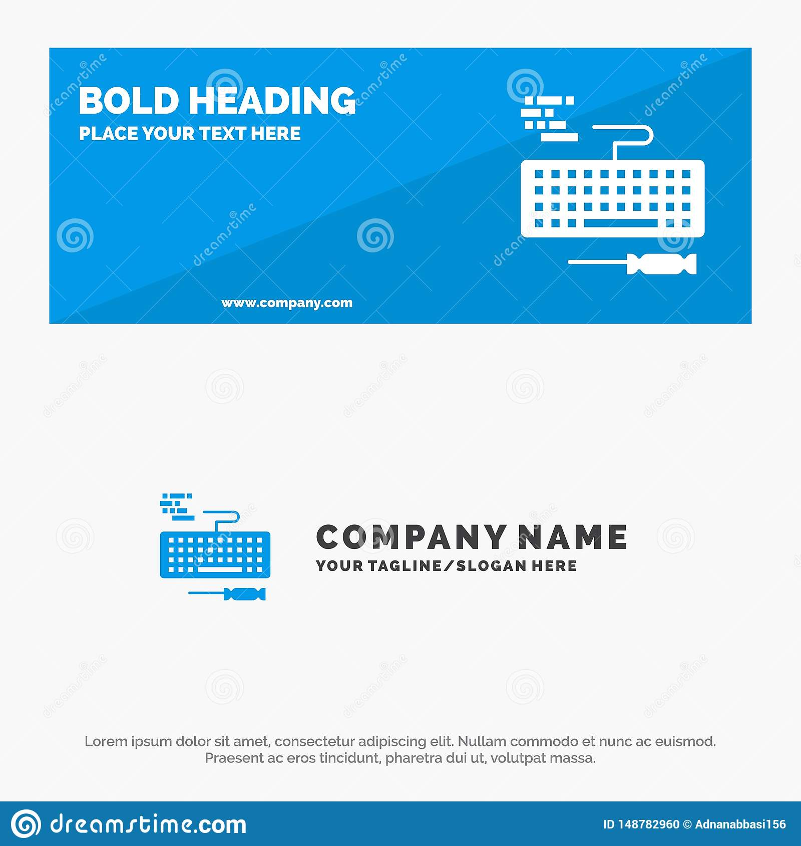 Key, Keyboard, Hardware, Repair SOlid Icon Website Banner and Business Logo Template