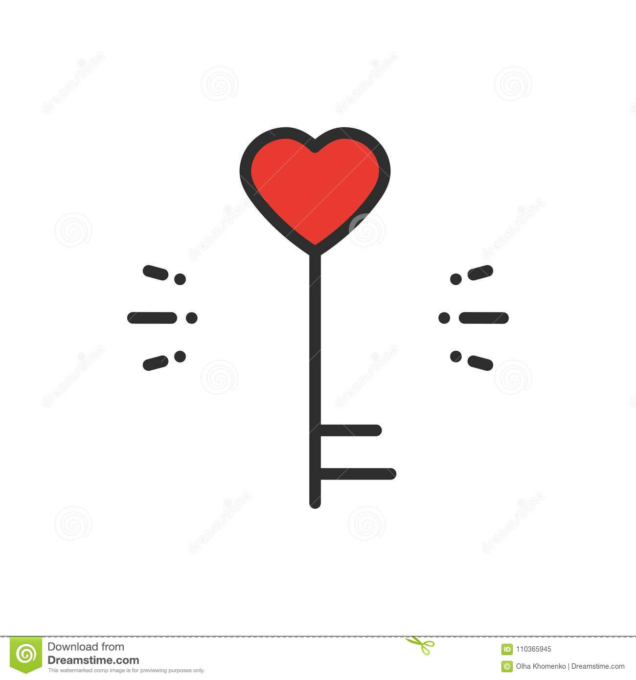 Key line icon. Heart shape. Happy Valentine day sign and symbol. Love couple relationship dating wedding day theme.