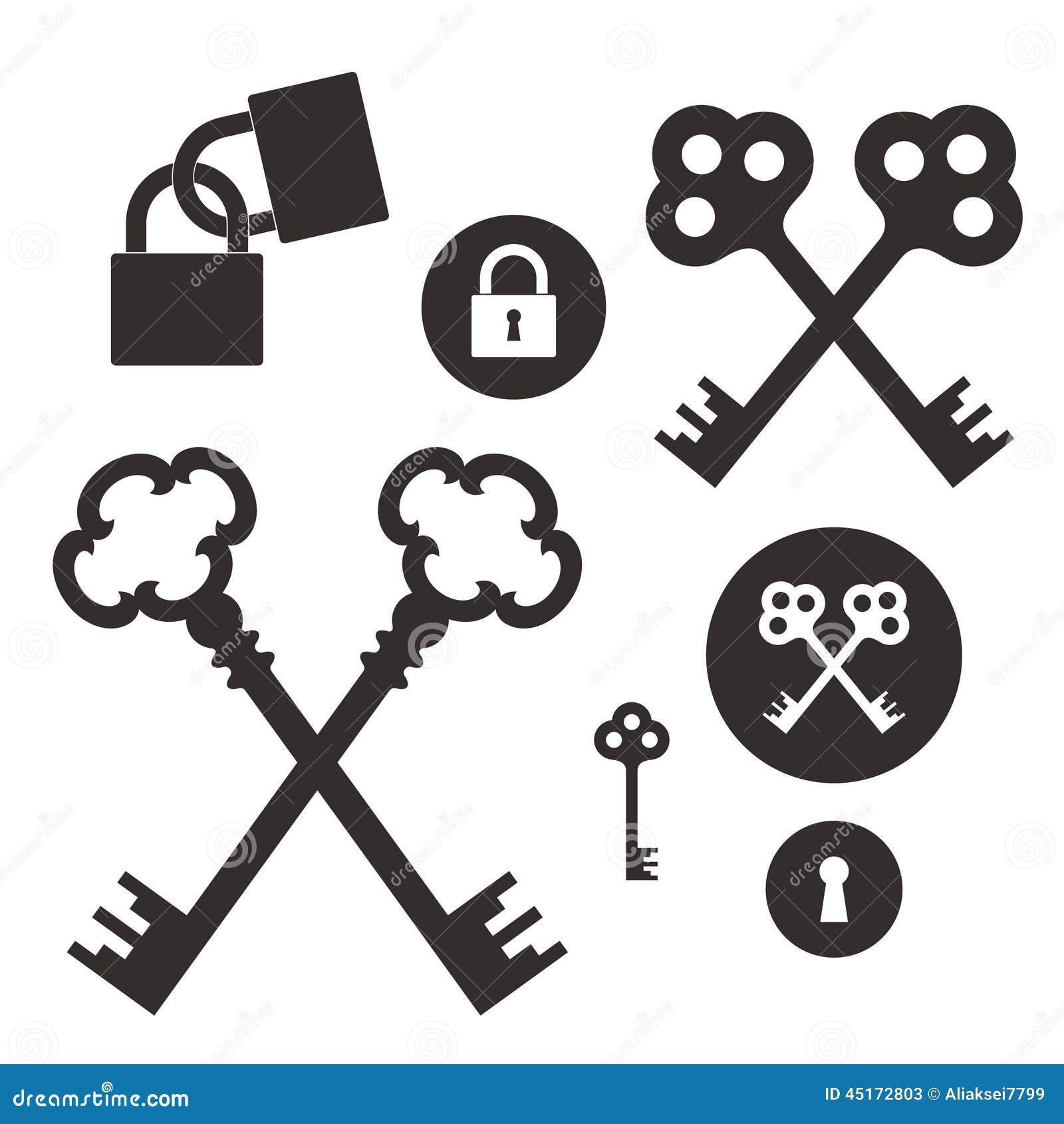 Vector Key Illustration: Key. Lock. Icon Set Stock Vector. Image Of Vector, Lock