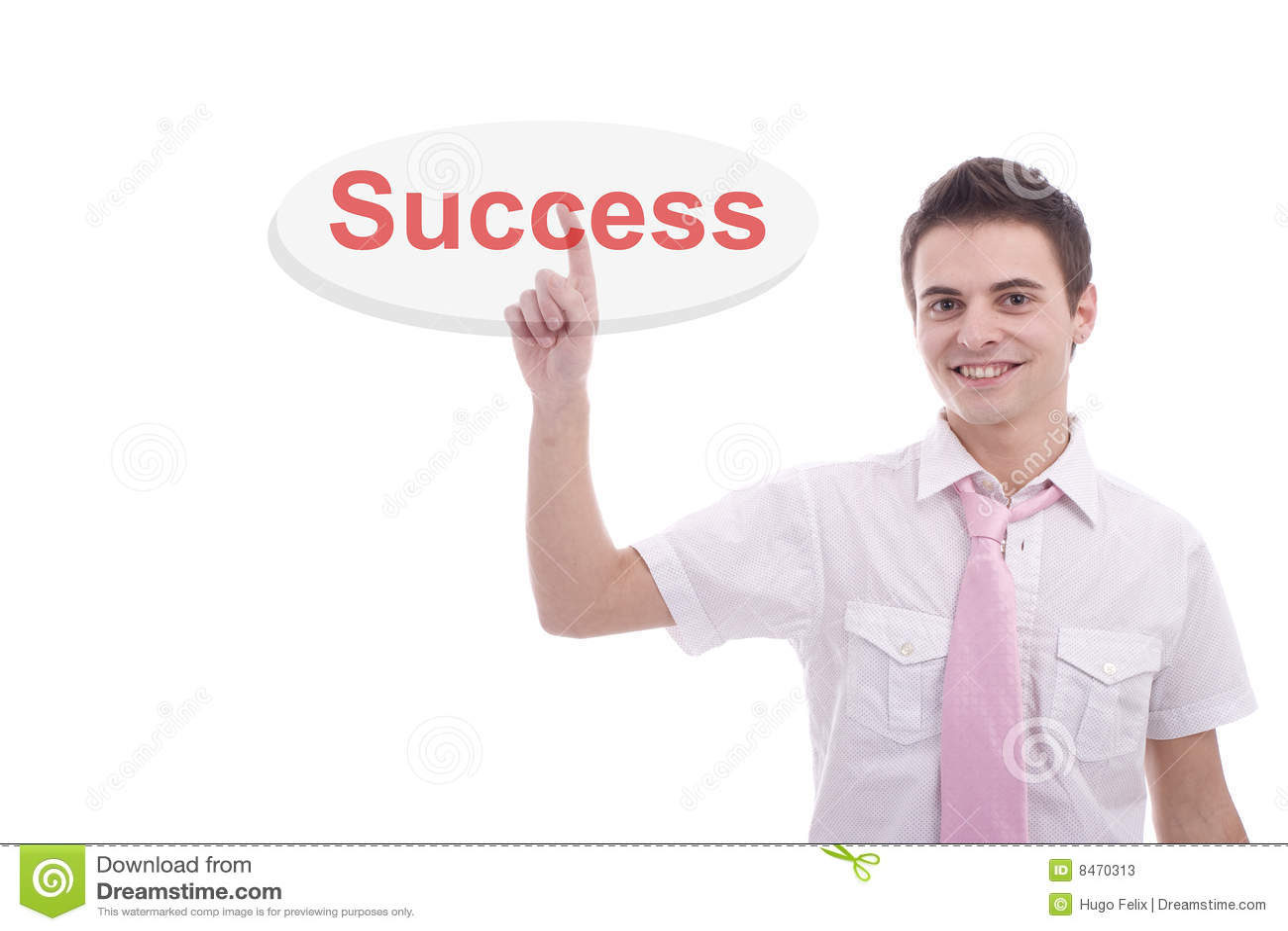 Key man för affär som trycker på framgångsbarn