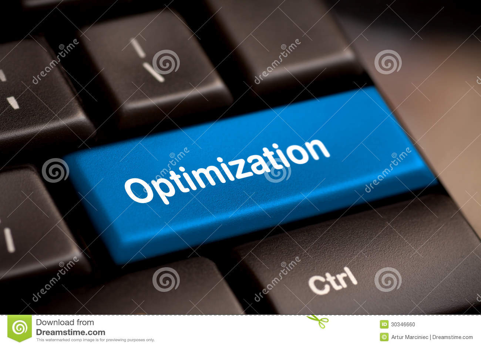 Key with Optimization word on laptop keyboard.