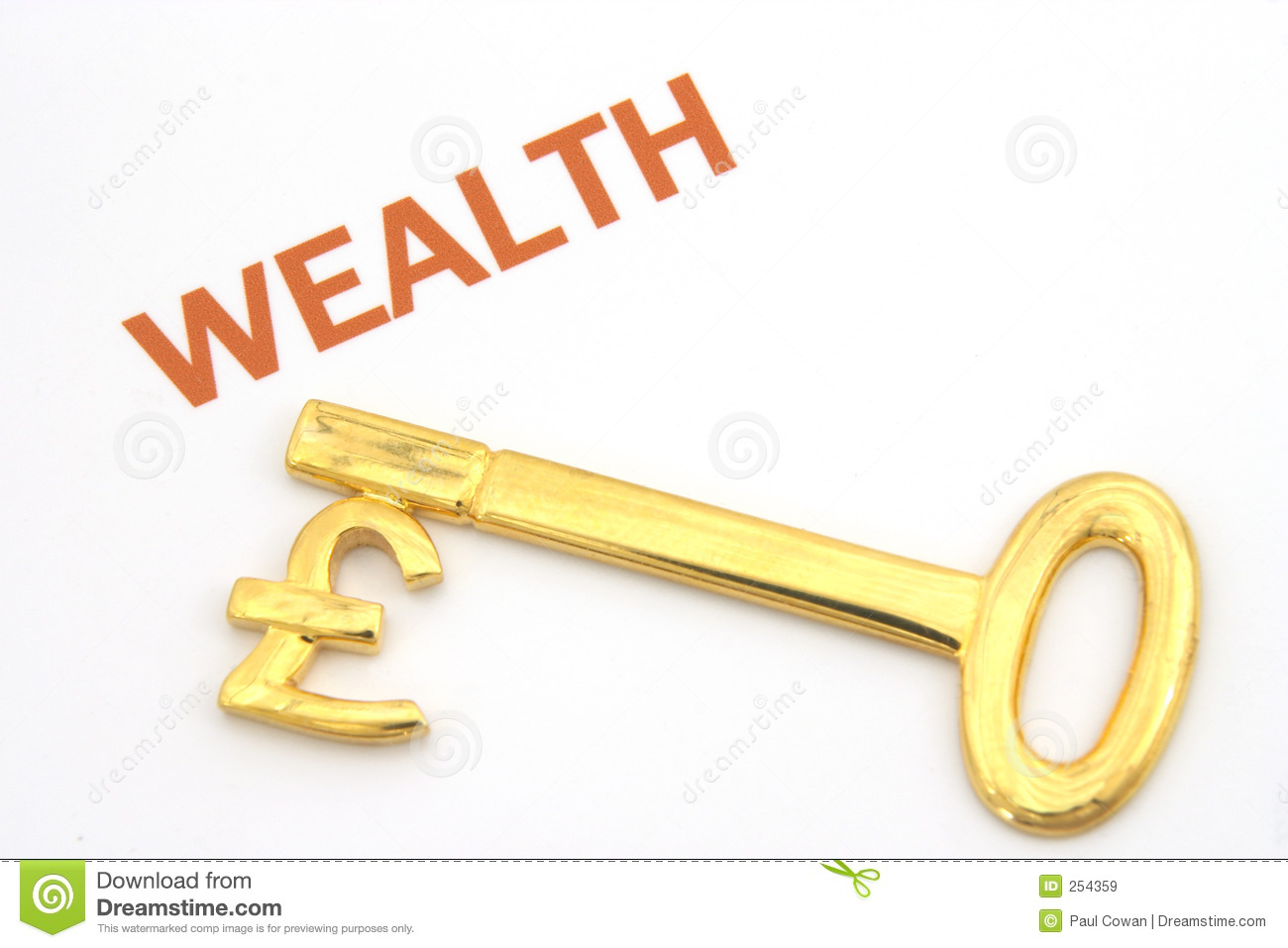Key To Wealth Pounds Stock Image Image Of Money Investment 254359