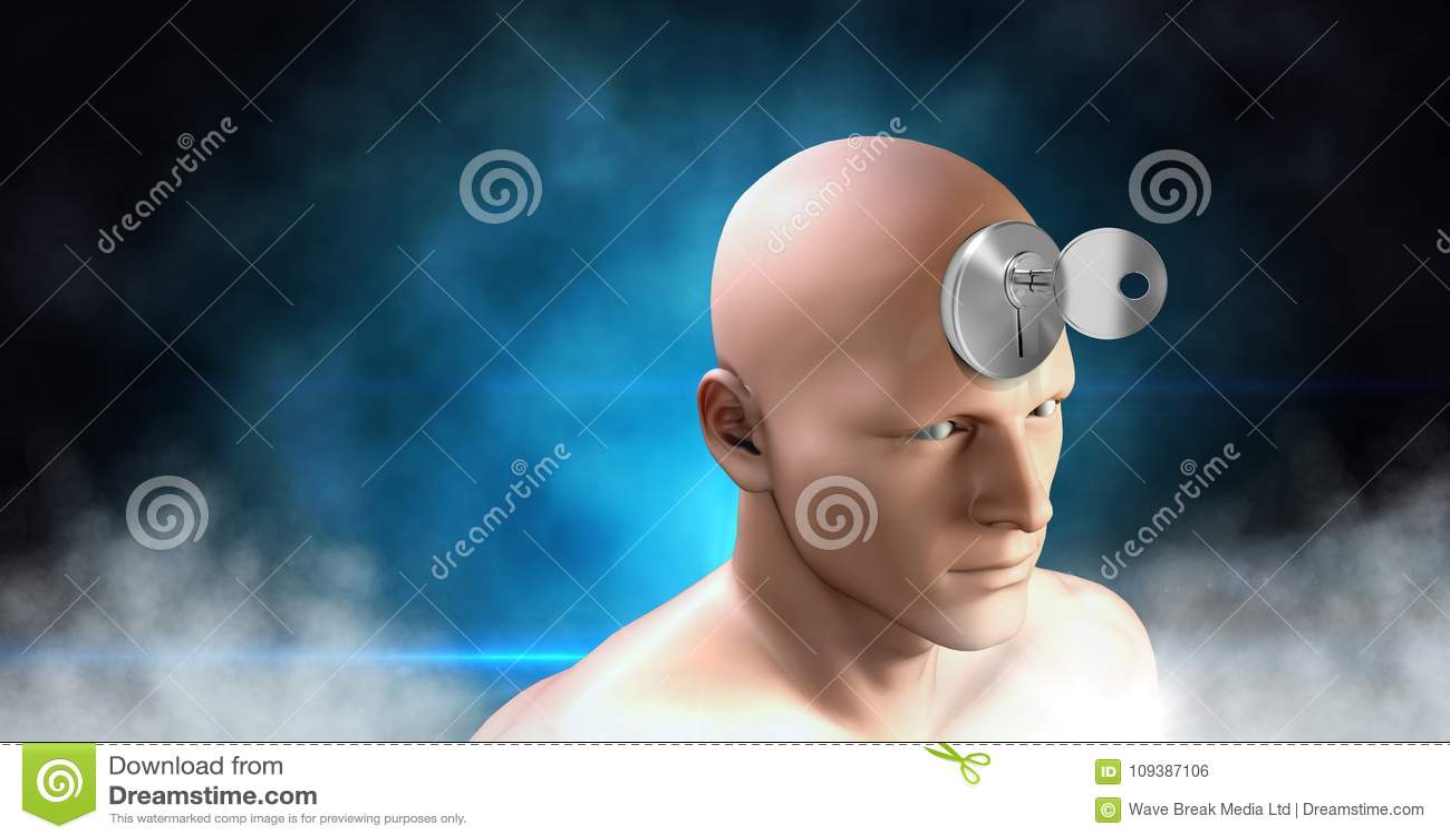 Key Unlocking The Surreal Imagination Of 3D Mans Head Stock
