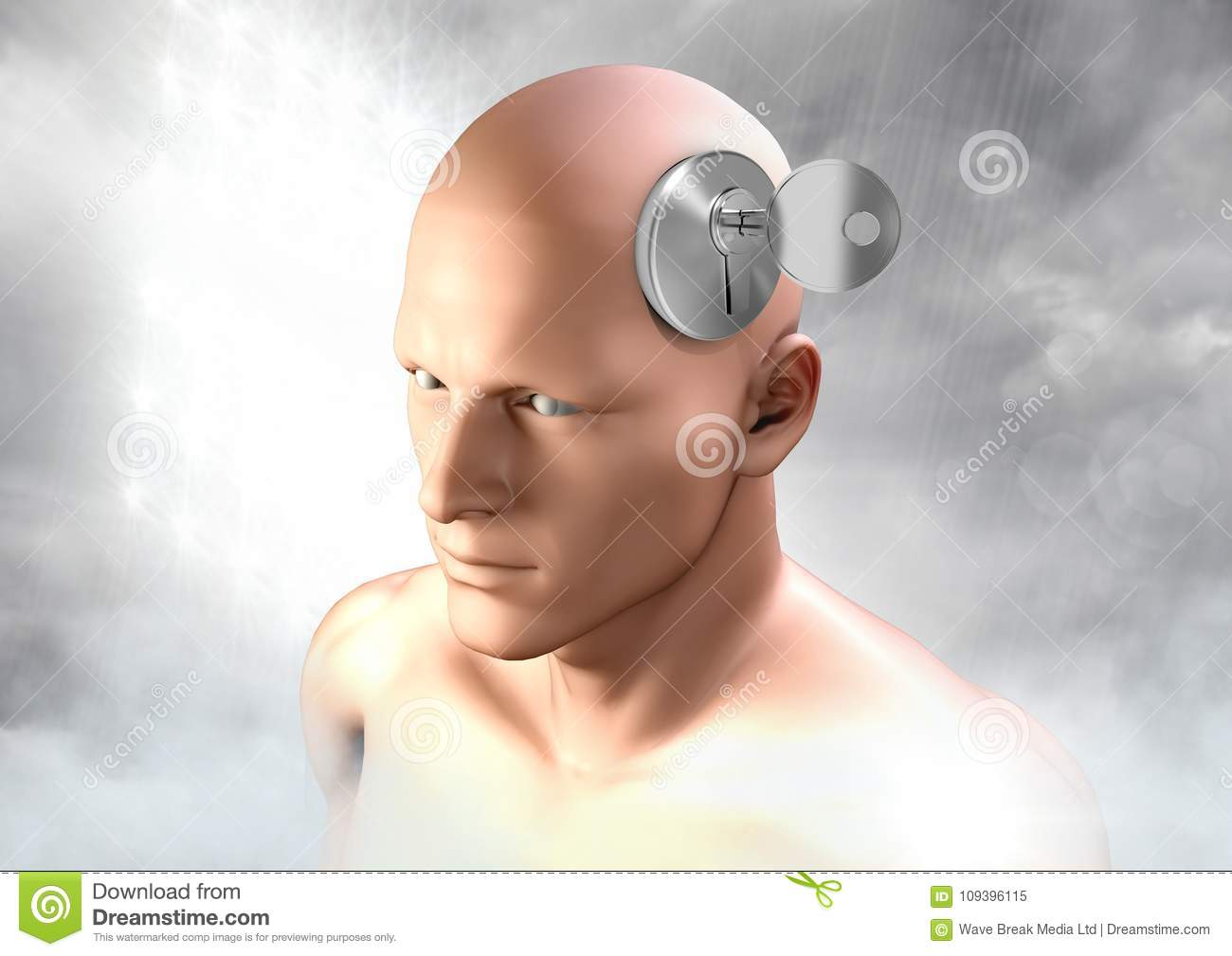 Key Unlocking The Surreal Imagination Of 3D Mans Head Stock Image
