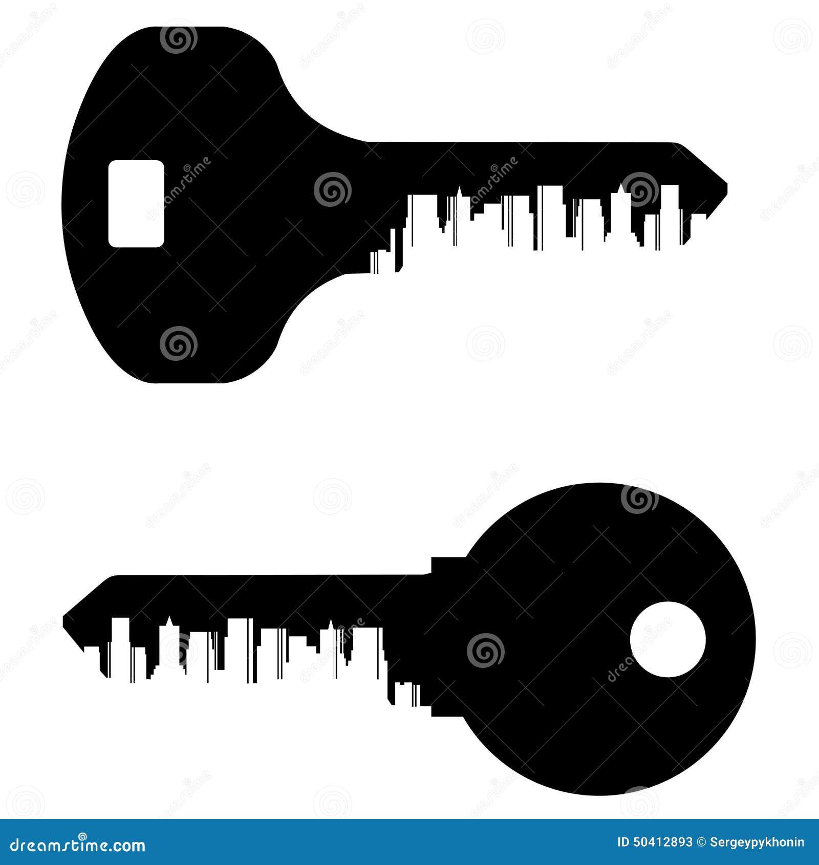 Vector Key Illustration: Key Vector Logo Design Template. City Or Town Icon Stock