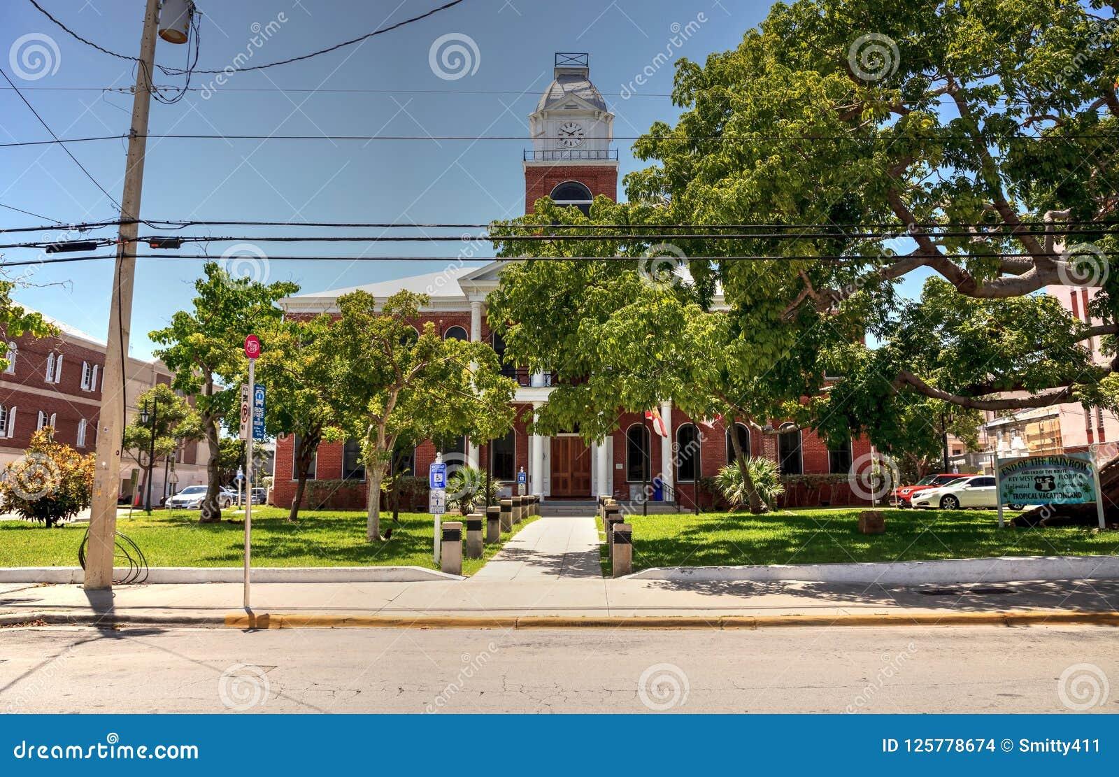 Monroe County Courthouse With A Large Kapok Tree Ceiba Pentandra
