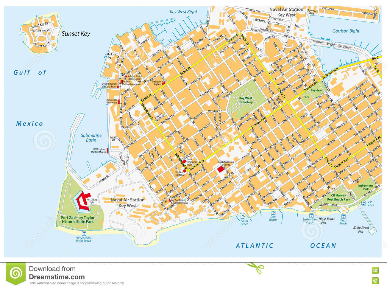 Key West Road Map With Road Names Stock Illustration ...
