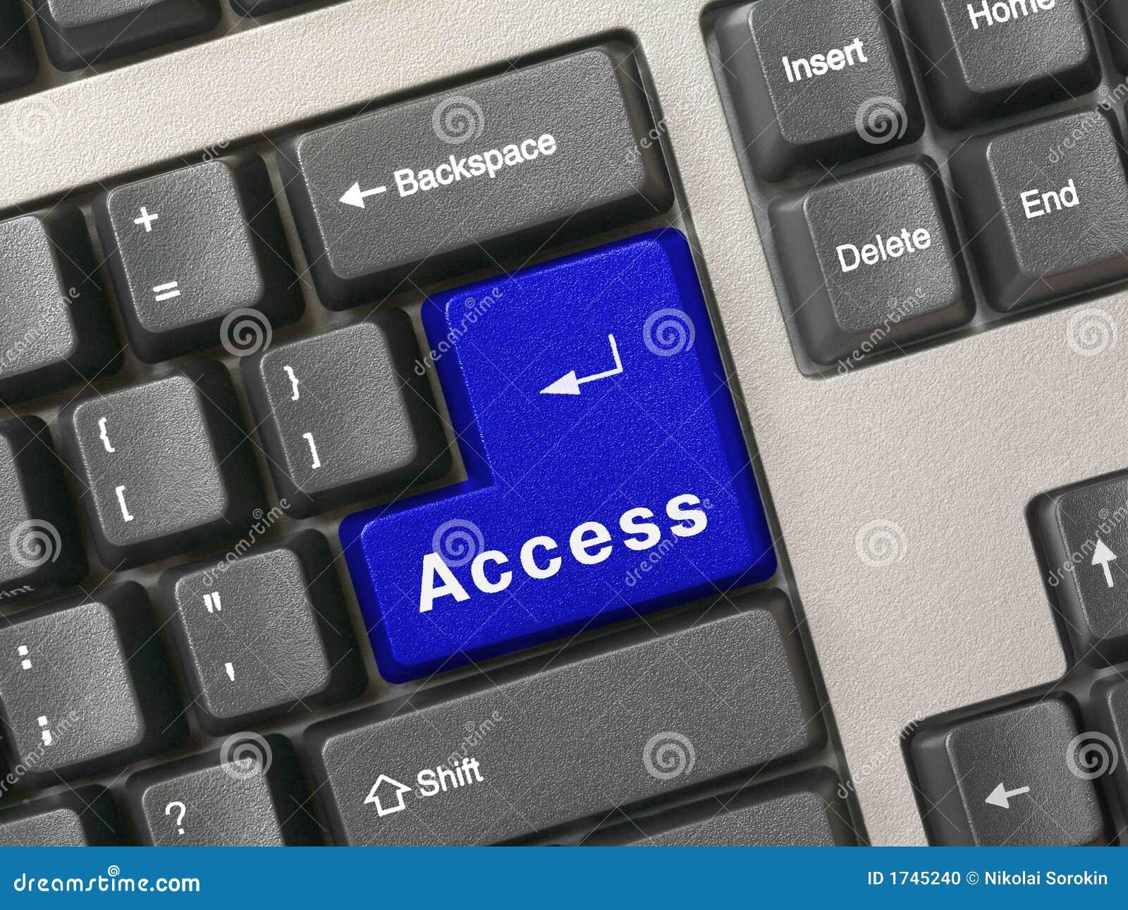 Keyboard - blue key Access stock photo. Image of entry - 1745240