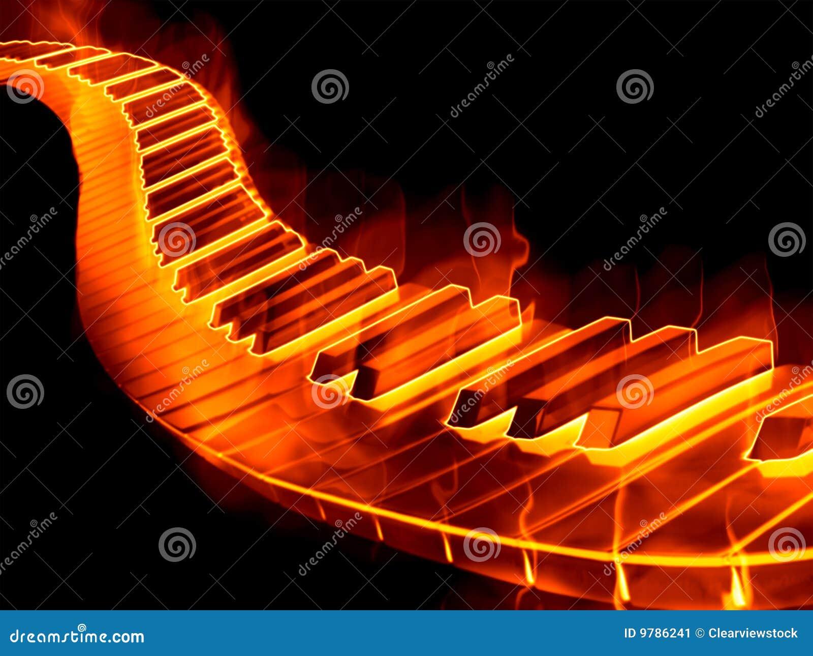 keyboard on fire stock image