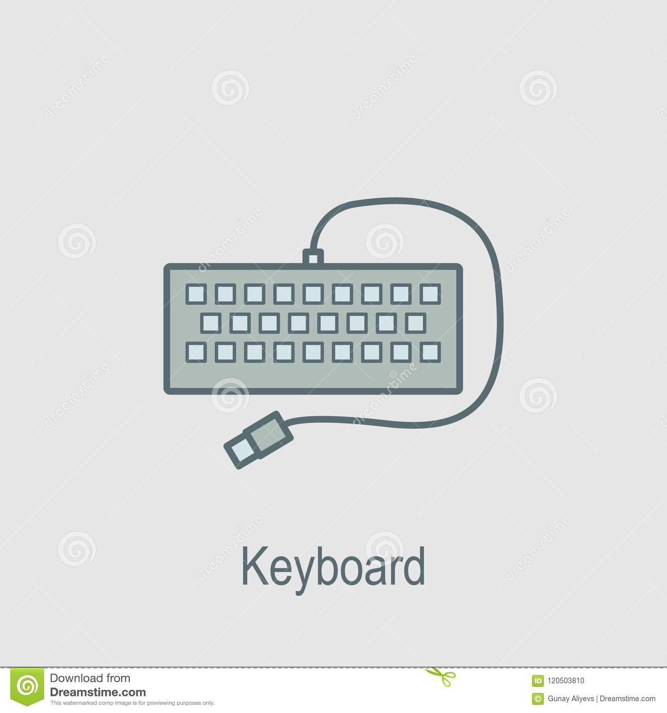 Keyboard Icon Element Of Computer Parts With Name Icon For Mobile Concept And Web Apps Filled Outline Keyboard Icon Can Be Used Stock Illustration Illustration Of Button Symbol 120503810