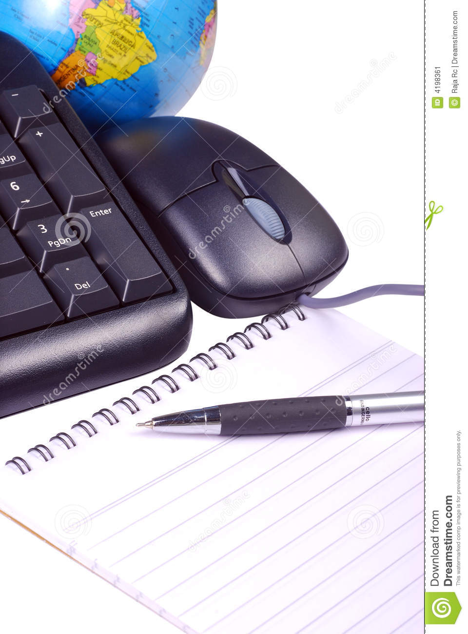 Keyboard and mouse with globe