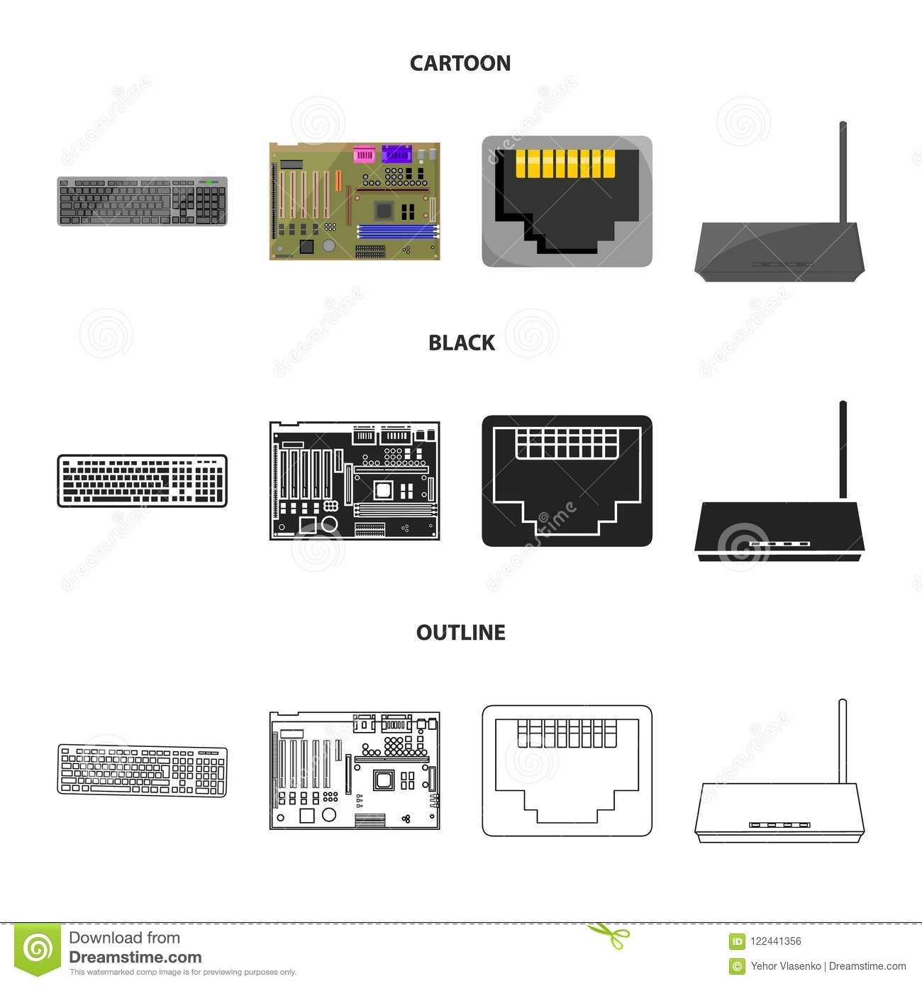 Keyboard, router, motherboard and connector. Personal computer set  collection icons in cartoon,