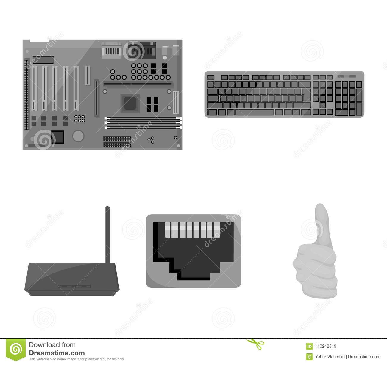 keyboard router motherboard and connector personal computer set rh dreamstime com Computer Motherboard SY-K7VME Wire Computer Monitor Wiring Diagram