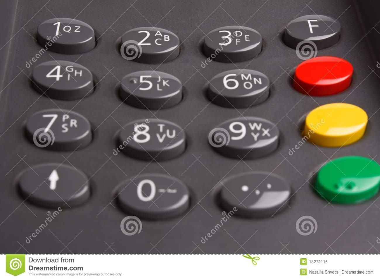 Keypad with buttons