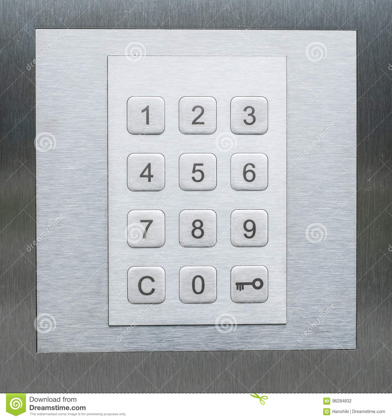Keypad Numbers And Key Smbol Door Security System Stock