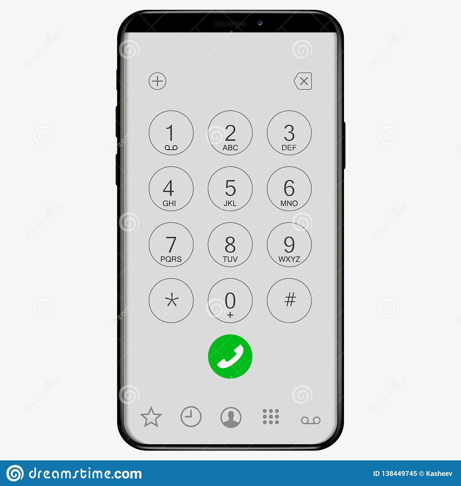 Keypad With Numbers And Letters For Phone. Ios User Interface Keypad For Smartphone. Keyboard