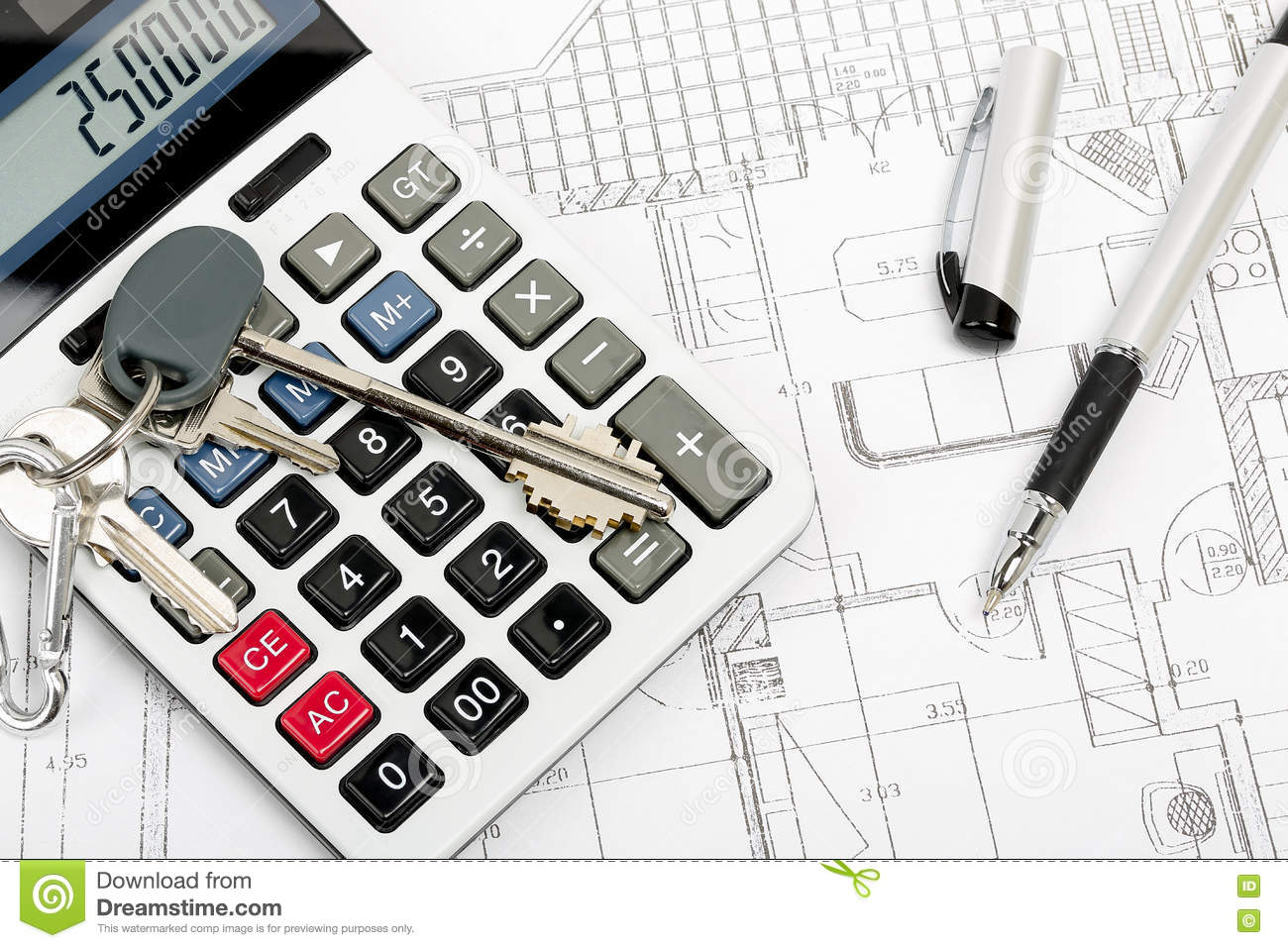 Keys on calculator stock photo image 73096780 for Blueprint estimator
