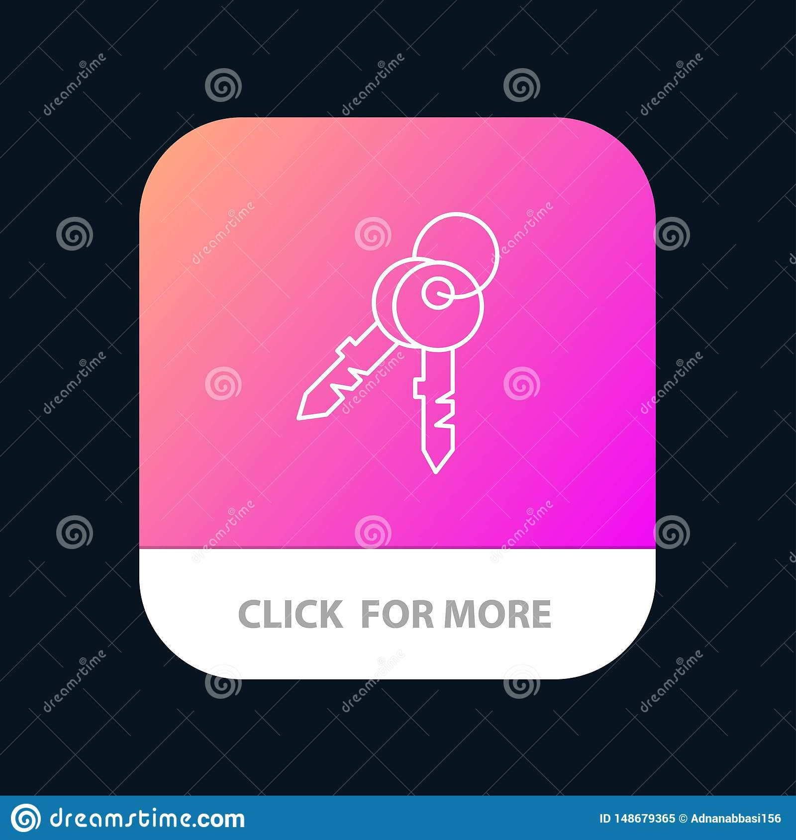 Keys, Door, House, Home Mobile App Button  Android And IOS Line