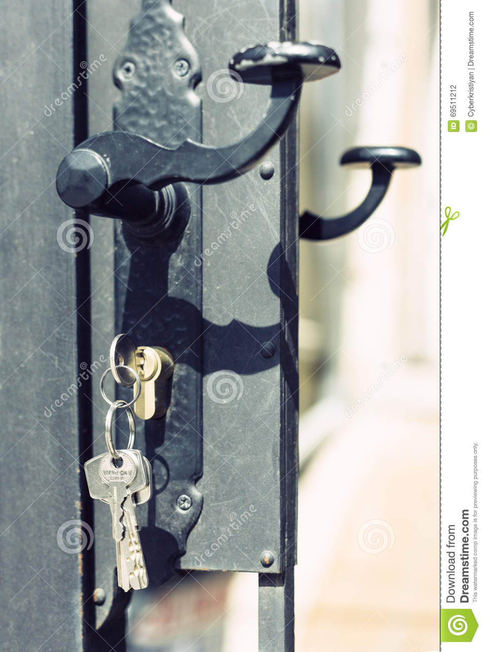 Keys Hanging From Door Lock With Door Knob Stock Photo Image
