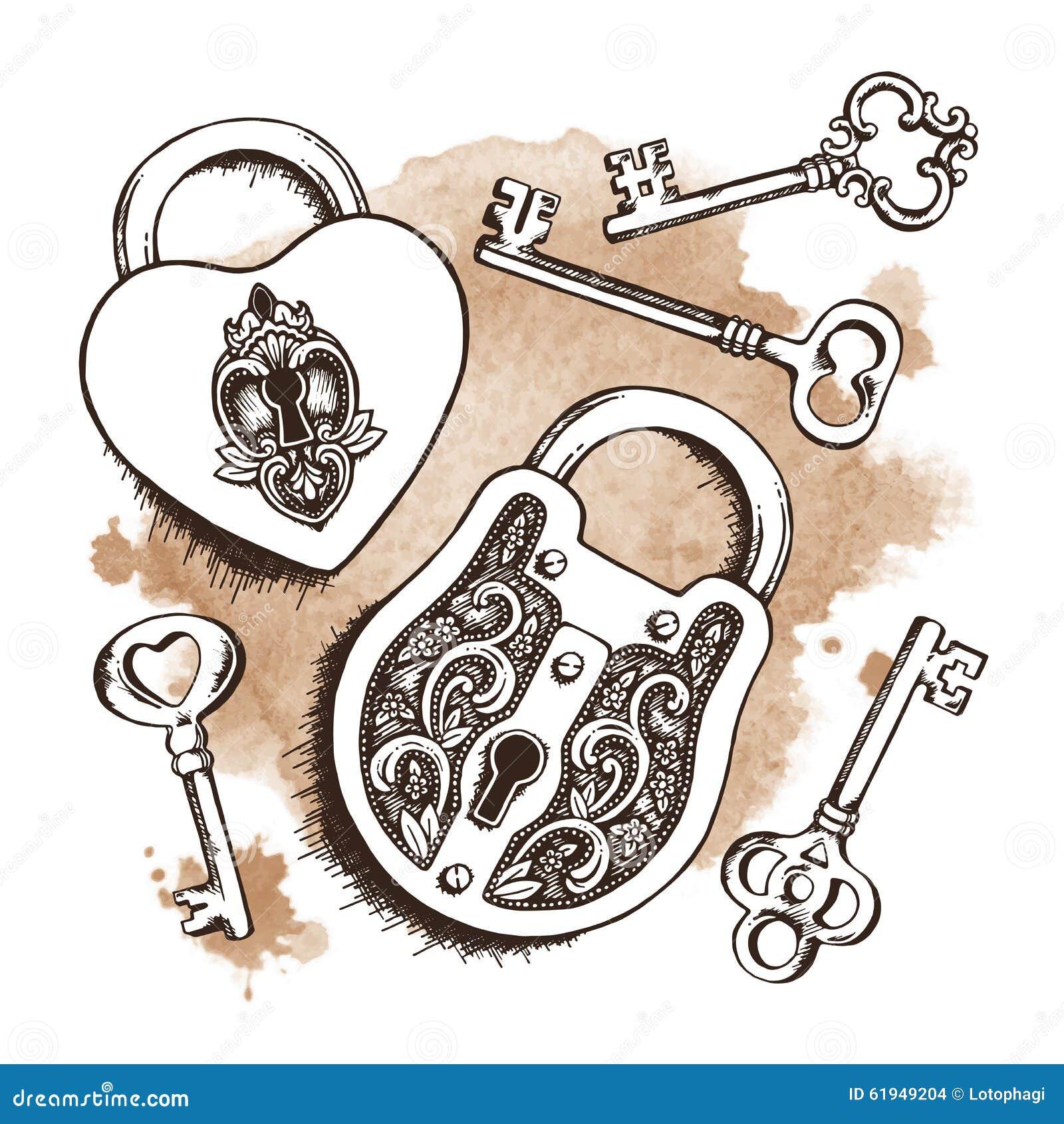 Vector Key Illustration: Keys And Locks Over Watercolor Background. Vector