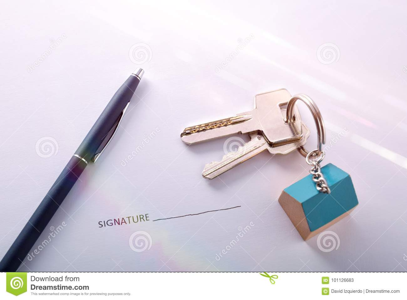 Concept of contract signing for purchase of a house