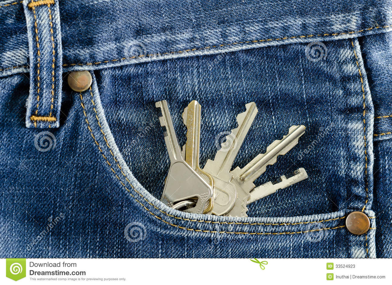 Keys In A Pocket Of Jeans Stock Photos Image 33524923
