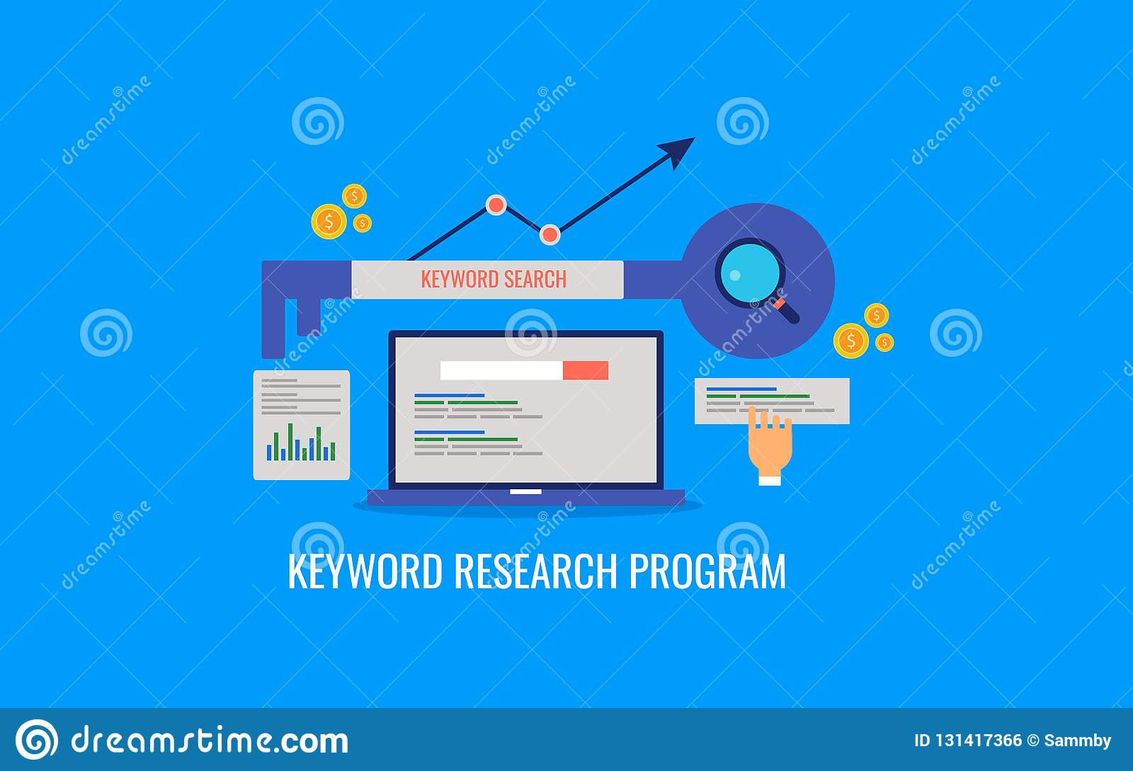 Keyword research program, search engine optimization, seo ranking, data analysis. Flat design vector banner.