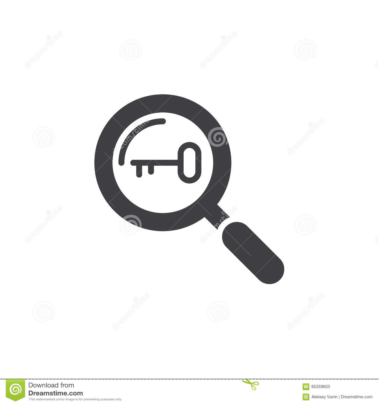 Keyword Research Symbol Magnifying Glass And Key Icon Vector Stock
