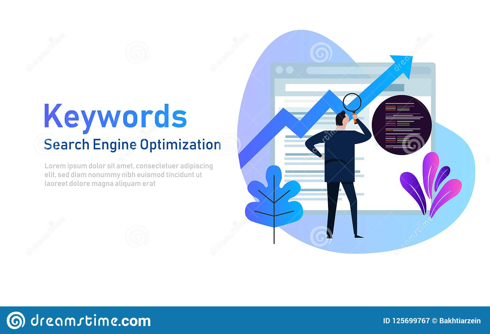 Keywording, έρευνα λέξης κλειδιού SEO, λέξεις κλειδιά που ταξινομεί τη βελτιστοποίηση στη μηχανή αναζήτησης Διανυσματική απεικόνι