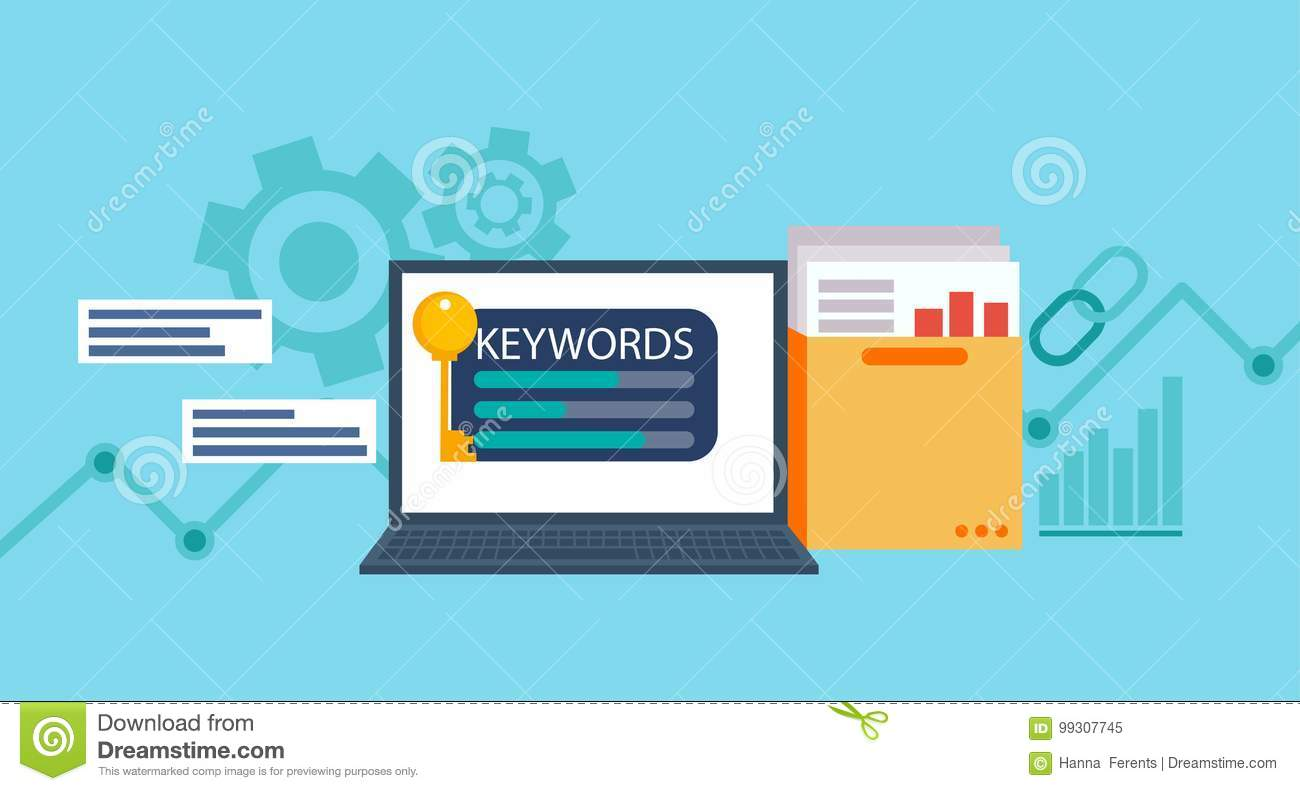 Keywords Tool Word Matching Program. Laptop With A Folder Of ...