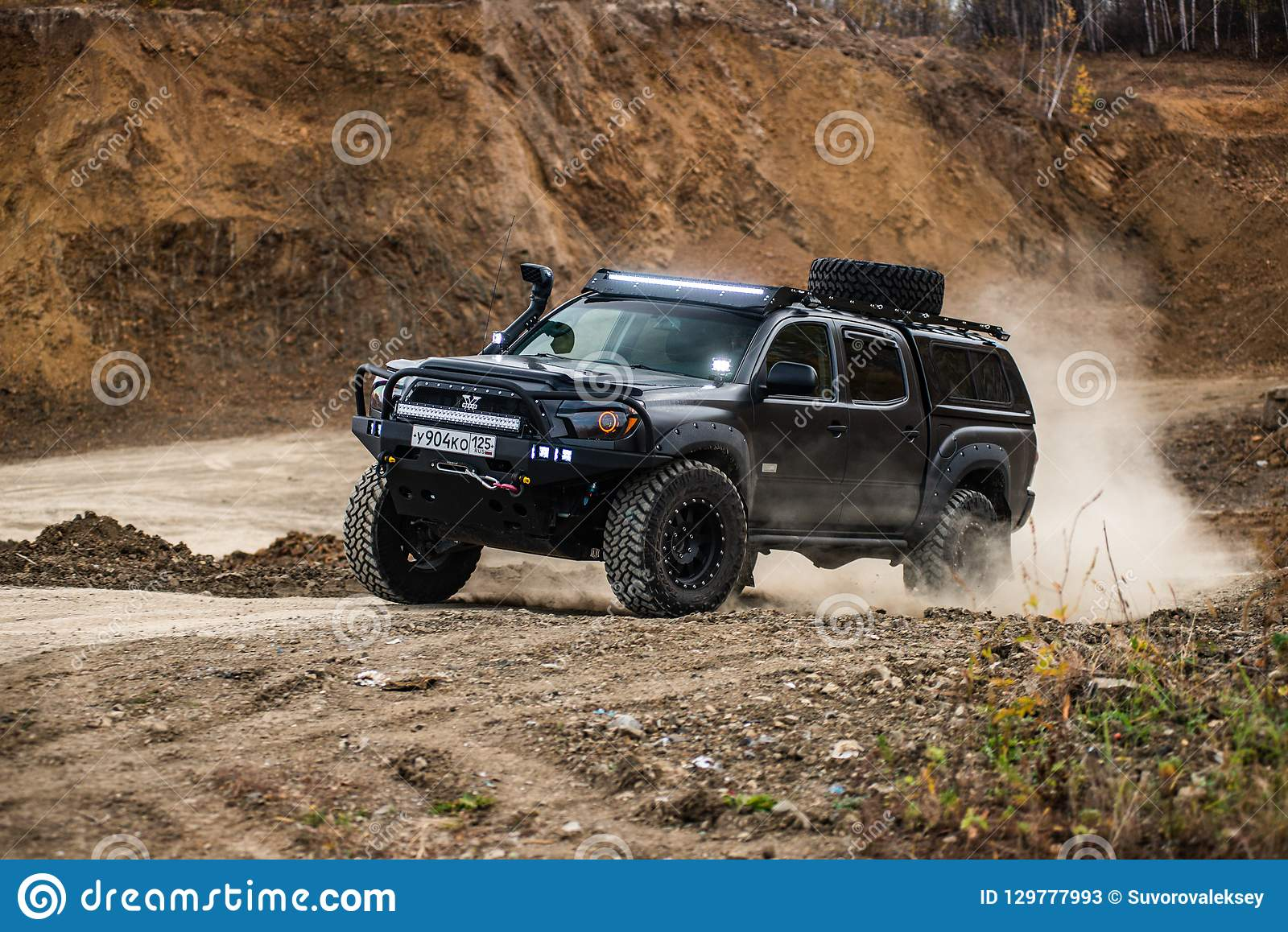 Khabarovsk Russia October 7 2018 Toyota Tacoma Quick Ride On A Offroad Editorial Stock Photo Image Of Automobile Engine 129777993
